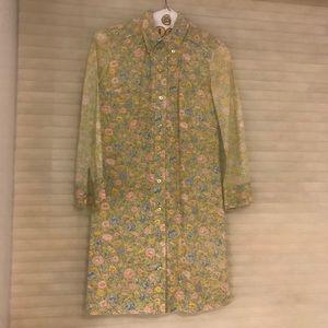 Vintage 60s flower print button-up mod mini dress